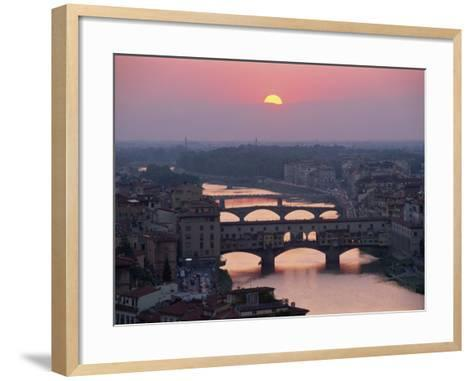 Ponte Vecchio and Other Bridges over the River Arno, Florence, Tuscany, Italy-Gavin Hellier-Framed Art Print