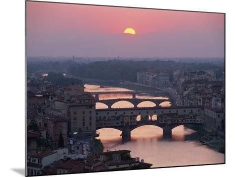 Ponte Vecchio and Other Bridges over the River Arno, Florence, Tuscany, Italy-Gavin Hellier-Mounted Photographic Print