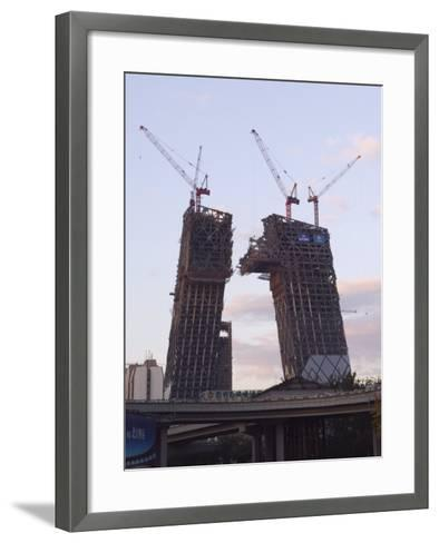 Partly Contructed Shell of the New Cctv Tower Building Guomao Area, Beijing, China-Kober Christian-Framed Art Print
