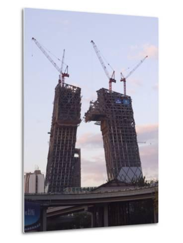 Partly Contructed Shell of the New Cctv Tower Building Guomao Area, Beijing, China-Kober Christian-Metal Print