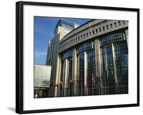 Flags Outside the European Commission and Parliament Buildings in Brussels, Belgium, Europe-David Hughes-Framed Art Print
