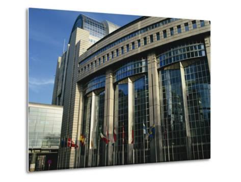 Flags Outside the European Commission and Parliament Buildings in Brussels, Belgium, Europe-David Hughes-Metal Print