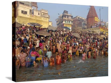 Ganges River, Makar San Kranti, Varanasi, Uttar Pradesh State, India-Gavin Hellier-Stretched Canvas Print