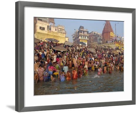 Ganges River, Makar San Kranti, Varanasi, Uttar Pradesh State, India-Gavin Hellier-Framed Art Print