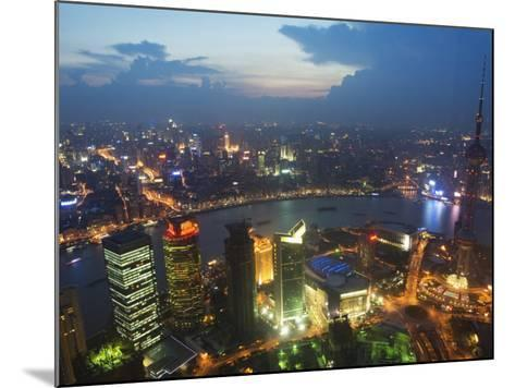 Bund and the Oriental Pearl Tower Illuminated in Pudong New Area, Pudong, Shanghai, China-Kober Christian-Mounted Photographic Print