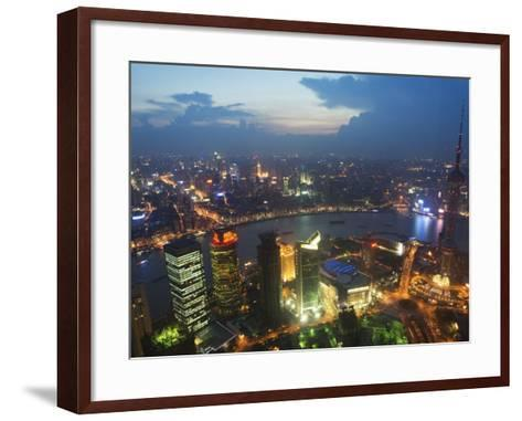 Bund and the Oriental Pearl Tower Illuminated in Pudong New Area, Pudong, Shanghai, China-Kober Christian-Framed Art Print