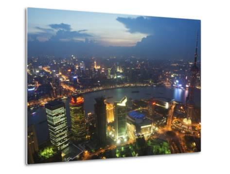 Bund and the Oriental Pearl Tower Illuminated in Pudong New Area, Pudong, Shanghai, China-Kober Christian-Metal Print