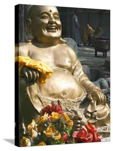 Golden Buddha Statue at Shaolin Temple, Birthplace of Kung Fu Martial Arts, Shaolin, Henan, China-Kober Christian-Stretched Canvas Print