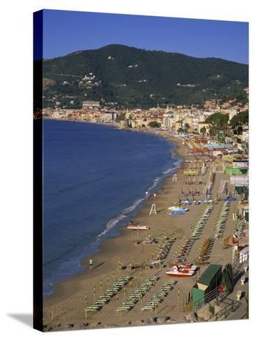 Beach and Town, Alassio, Italian Riviera, Liguria, Italy, Europe-Gavin Hellier-Stretched Canvas Print
