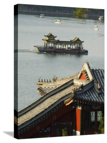 Chinese Style Boats on a Lake in Beihai Park, Beijing, China-Kober Christian-Stretched Canvas Print