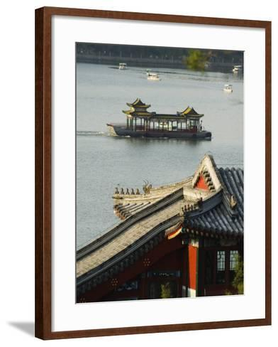 Chinese Style Boats on a Lake in Beihai Park, Beijing, China-Kober Christian-Framed Art Print