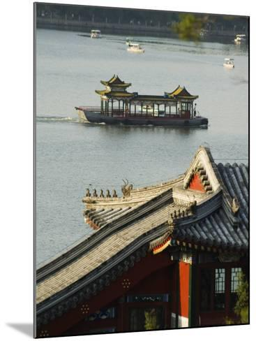 Chinese Style Boats on a Lake in Beihai Park, Beijing, China-Kober Christian-Mounted Photographic Print