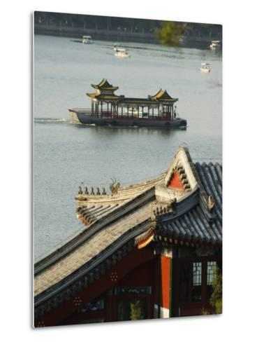 Chinese Style Boats on a Lake in Beihai Park, Beijing, China-Kober Christian-Metal Print