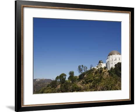 Griffiths Observatory and Hollywood Sign in Distance, Los Angeles, California, USA-Kober Christian-Framed Art Print