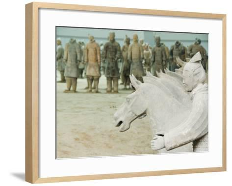 Museum of the Terracotta Warriors Opened in 1979 Near Xian City, Shaanxi Province, China-Kober Christian-Framed Art Print