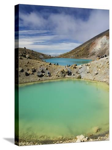 Hikers Near Emerald Lakes on the Tongariro Crossing, Tongariro National Park, New Zealand-Kober Christian-Stretched Canvas Print