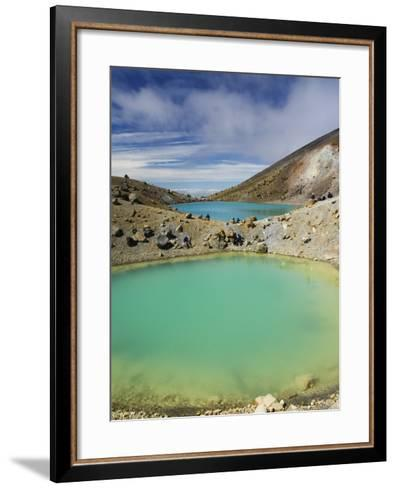 Hikers Near Emerald Lakes on the Tongariro Crossing, Tongariro National Park, New Zealand-Kober Christian-Framed Art Print