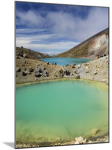 Hikers Near Emerald Lakes on the Tongariro Crossing, Tongariro National Park, New Zealand-Kober Christian-Mounted Photographic Print