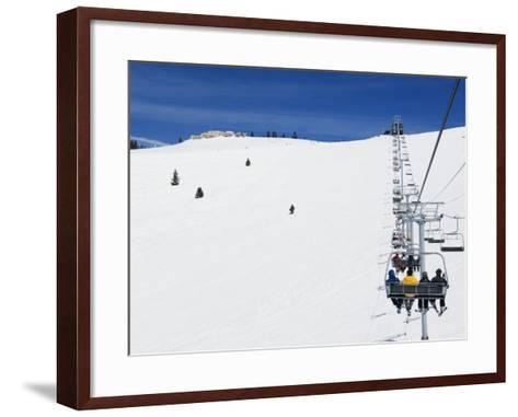 Skiers Being Carried on a Chair Lift to the Back Bowls of Vail Ski Resort, Vail, Colorado, USA-Kober Christian-Framed Art Print