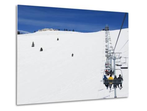 Skiers Being Carried on a Chair Lift to the Back Bowls of Vail Ski Resort, Vail, Colorado, USA-Kober Christian-Metal Print