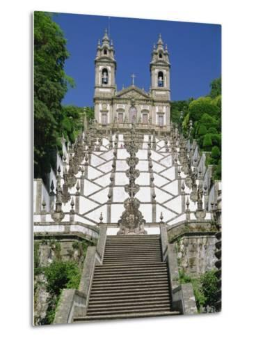 Basilica and Famous Staircases of Bom Jesus, Completed in 1837, Braga, Minho Region of Portugal-Maxwell Duncan-Metal Print