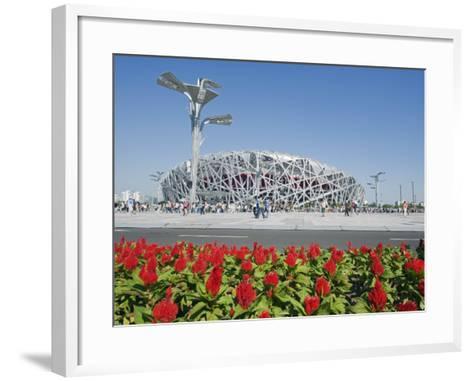Flowers and the Birds Nest National Stadium in the Olympic Green, Beijing, China-Kober Christian-Framed Art Print