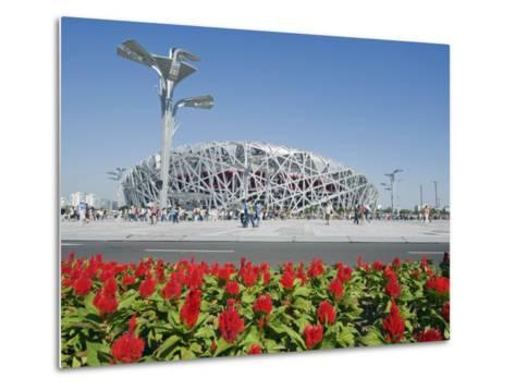 Flowers and the Birds Nest National Stadium in the Olympic Green, Beijing, China-Kober Christian-Metal Print