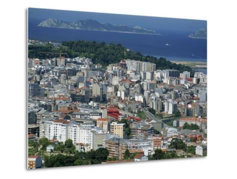City and the Ria De Vigo, Islas Cies in the Distance, Vigo, Galicia, Spain, Europe-Maxwell Duncan-Metal Print