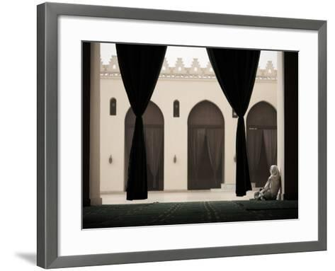Woman Sitting in the Mosque of Al-Hakim, Cairo, Egypt, North Africa, Africa-Mcconnell Andrew-Framed Art Print