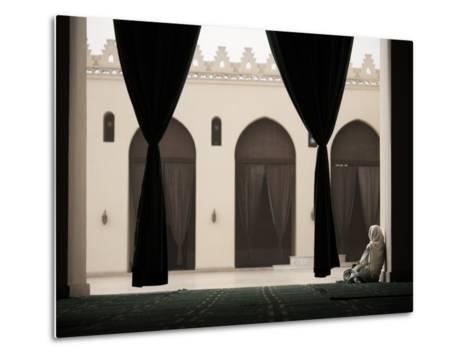 Woman Sitting in the Mosque of Al-Hakim, Cairo, Egypt, North Africa, Africa-Mcconnell Andrew-Metal Print