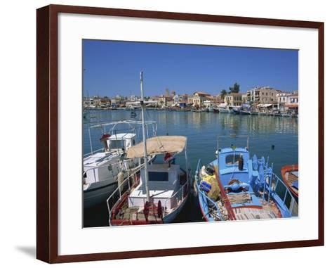 Fishing Boats Moored in Harbour, Aegina Town, Aegina, Saronic Islands, Greek Islands, Greece-Lightfoot Jeremy-Framed Art Print