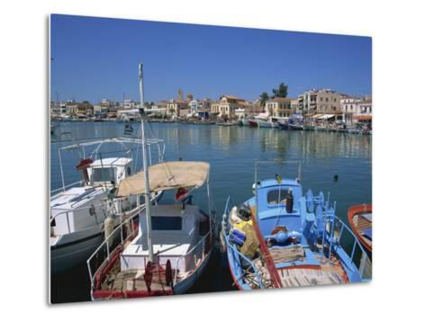 Fishing Boats Moored in Harbour, Aegina Town, Aegina, Saronic Islands, Greek Islands, Greece-Lightfoot Jeremy-Metal Print
