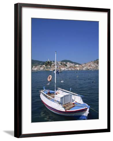Small Boat in Harbour on Poros, Saronic Islands, Greek Islands, Greece, Europe-Lightfoot Jeremy-Framed Art Print