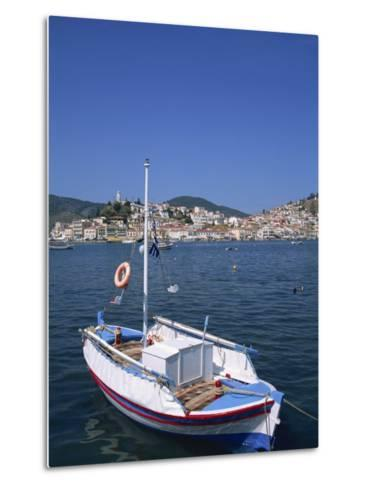 Small Boat in Harbour on Poros, Saronic Islands, Greek Islands, Greece, Europe-Lightfoot Jeremy-Metal Print