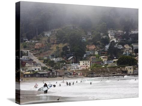 Surfers at Linda Mar Beach, Pacifica, California, United States of America, North America-Levy Yadid-Stretched Canvas Print