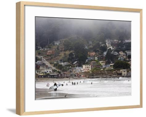 Surfers at Linda Mar Beach, Pacifica, California, United States of America, North America-Levy Yadid-Framed Art Print