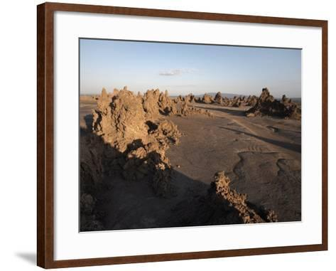 Desolate Landscape of Lac Abbe, Dotted with Limestone Chimneys, Djibouti, Africa-Mcconnell Andrew-Framed Art Print