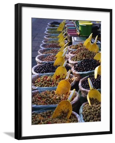 Olives on Market Stall, Provence, France, Europe-Miller John-Framed Art Print