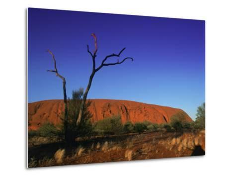 Ayers Rock at Sunrise, Uluru-Kata Tjuta National Park, Northern Territory, Australia, Pacific-Mawson Mark-Metal Print