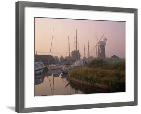 Horsey Wind Pump and Boats Moored on the Norfolk Broads at Dawn, Norfolk, England, United Kingdom-Miller John-Framed Art Print
