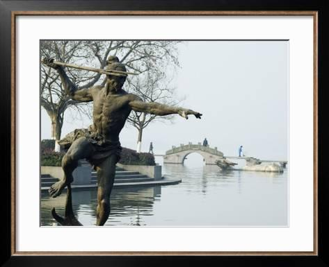 Statue of a Spear Fisherman in the Waters of West Lake, Hangzhou ...