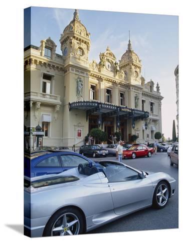 Casino and Ferrari, Monte Carlo, Monaco, Europe-Miller John-Stretched Canvas Print