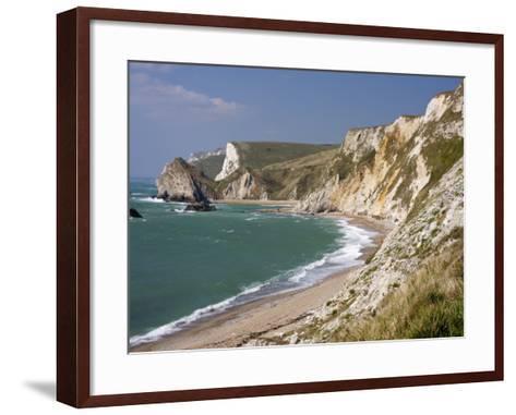 St. Oswald's Bay Beach and Cliffs, Dorset, England, United Kingdom, Europe-Rainford Roy-Framed Art Print
