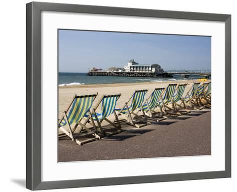 Bournemouth East Beach, Deck Chairs and Pier, Dorset, England, United Kingdom, Europe-Rainford Roy-Framed Art Print