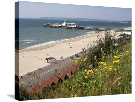 Bournemouth Pier and Beach, Poole Bay, Dorset, England, United Kingdom, Europe-Rainford Roy-Stretched Canvas Print