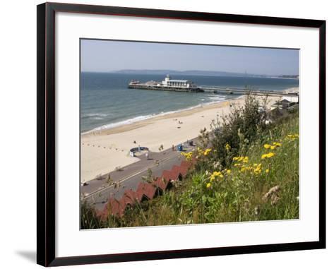 Bournemouth Pier and Beach, Poole Bay, Dorset, England, United Kingdom, Europe-Rainford Roy-Framed Art Print