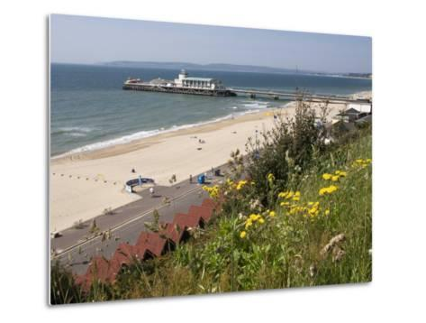 Bournemouth Pier and Beach, Poole Bay, Dorset, England, United Kingdom, Europe-Rainford Roy-Metal Print