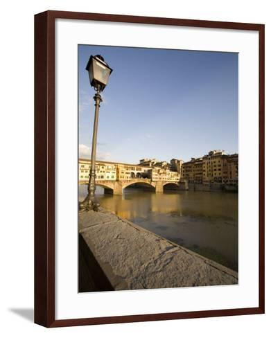 Along the Arno River and the Ponte Vecchio, Florence, Tuscany, Italy, Europe-Olivieri Oliviero-Framed Art Print