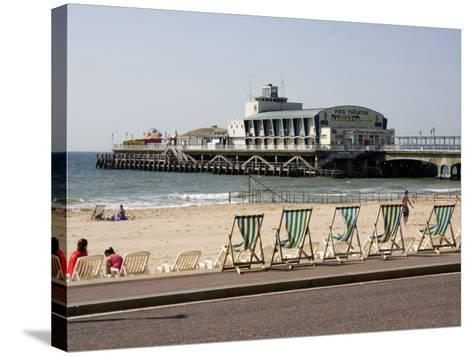 Deckchairs, Beach and Pier, Bournemouth, Dorset, England, United Kingdom, Europe-Rainford Roy-Stretched Canvas Print