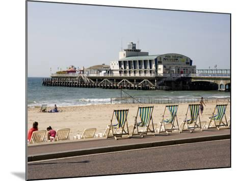 Deckchairs, Beach and Pier, Bournemouth, Dorset, England, United Kingdom, Europe-Rainford Roy-Mounted Photographic Print
